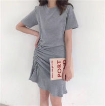 Dress Summer 2021 Gray, black Average size Short skirt singleton  Short sleeve commute Crew neck High waist Solid color Socket Ruffle Skirt other Others Type A Korean version bow More than 95% other other