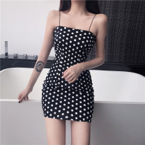 Dress Summer 2021 White, black S, M Short skirt singleton  Sleeveless commute square neck High waist Dot Socket One pace skirt other camisole Type A Korean version More than 95% other other