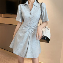 Dress Summer 2021 Gray, black Average size Short skirt singleton  Short sleeve commute Polo collar High waist Solid color Socket A-line skirt routine Others Type A Korean version More than 95% other other