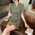 Dress Summer 2021 green S,M,L Short skirt singleton  Short sleeve commute tailored collar High waist Solid color Single breasted A-line skirt routine Others Type A Korean version More than 95% other other
