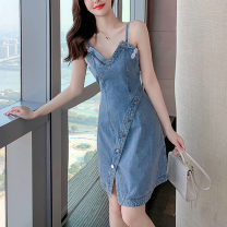 Dress Summer 2021 blue S,M,L,XL Short skirt singleton  Sleeveless commute V-neck High waist Solid color Single breasted A-line skirt other camisole Type X Korean version More than 95% other other
