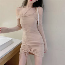 Dress Summer 2021 khaki Average size Short skirt singleton  Short sleeve commute square neck High waist Solid color Socket One pace skirt routine Others Type A Korean version More than 95% other other