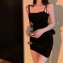 Dress Summer 2021 Black velvet suspender skirt Average size Short skirt singleton  Sleeveless square neck High waist Solid color Socket One pace skirt other Type X More than 95% other other