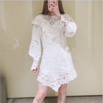Dress Spring 2021 Off white 160/84A,165/88A,170/92A Short skirt singleton  Short sleeve street Crew neck middle-waisted Solid color Socket A-line skirt routine Oblique shoulder 25-29 years old Type A 31% (inclusive) - 50% (inclusive) other other Europe and America