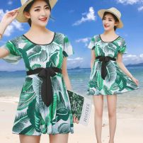 Split swimsuit Han Donger Skirt split swimsuit With chest pad without steel support polyester fiber female