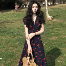 Women's large Summer 2021 Picture color L [90-120 Jin], XL [120-140 Jin], 2XL [140-160 Jin], 3XL [160-180 Jin], 4XL [180-200 Jin] Dress singleton  Self cultivation thin Socket Short sleeve other V-neck other routine Other / other 25-29 years old 96% and above Medium length other