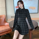 Women's large Autumn 2020 black L【90 - [120 kg] , XL【120 - 140 kg] , 2XL【140 - 160 kg] , 3XL【160 - 180 kg] , 4XL【180 - 200 Jin] , 5XL【200 - 210 kg] Dress singleton  commute Self cultivation moderate Socket Long sleeves lattice Retro Half high collar other routine Other / other 96% and above