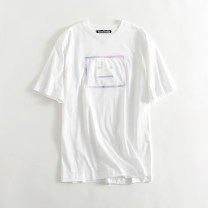 T-shirt White, black XS,S,M Summer 2021 Short sleeve Crew neck easy Regular routine commute cotton 86% (inclusive) -95% (inclusive) 25-29 years old Facebook, gradient
