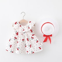 Dress Red, pink female MEG rabbit 80cm,90cm,100cm,110cm,120cm Cotton 95% other 5% summer fresh Skirt / vest other cotton Lotus leaf edge LYQ-5077 Class B 18 months, 2 years, 3 years, 4 years, 5 years Chinese Mainland Zhejiang Province Huzhou City
