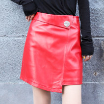 skirt Autumn 2020 M,L,XL,2XL,3XL Black, red Short skirt street High waist A-line skirt Solid color Type A More than 95% Sheepskin Princess silver fox Sheepskin Button Europe and America