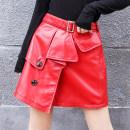 skirt Autumn 2020 M,L,XL,2XL,3XL Red, black Short skirt street High waist A-line skirt Solid color Type A YH906LY More than 95% Sheepskin Princess silver fox Sheepskin Asymmetry Europe and America