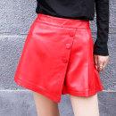 Casual pants Black, red M,L,XL,2XL,3XL Autumn 2020 shorts Wide leg pants High waist street routine YH8908LY Princess silver fox Sheepskin Button Sheepskin Europe and America