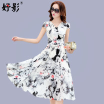 Dress Summer of 2019 M L XL XXL XXXL longuette singleton  Short sleeve commute V-neck High waist Decor Socket Big swing routine Others 40-49 years old Type X Yu Ying lady 3D printing of stitched zipper More than 95% Chiffon polyester fiber Polyester 94.5% other 5.5% Pure e-commerce (online only)