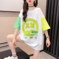 T-shirt White blue M L XL XXL Summer 2021 Short sleeve Crew neck easy Medium length routine commute polyester fiber 51% (inclusive) - 70% (inclusive) 18-24 years old Korean version originality Color matching of geometric pattern letters Naris  Print stitching Pure e-commerce (online only)