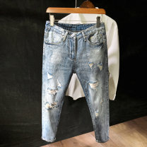 Jeans Youth fashion Others 28,29,30,31,32,33,34 Light blue routine Micro bomb Cotton elastic denim Ninth pants Other leisure spring teenagers middle-waisted Slim feet tide Pencil pants zipper washing Three dimensional tailoring Water wash, hole cotton