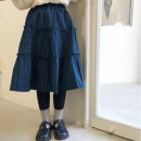 skirt 7(100),9(110),11(120),13(130),15(140),17(150),19(160) blue Send sauce female Other 100% spring and autumn skirt lattice A-line skirt other Class B