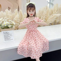 Dress Summer 2021 Pink, yellow, purple, pink long sleeves 110cm,120cm,130cm,140cm,150cm,160cm Mid length dress singleton  Short sleeve commute Lotus leaf collar middle-waisted Dot Three buttons A-line skirt routine Others Under 17 Type A Other / other lady F13121 31% (inclusive) - 50% (inclusive)