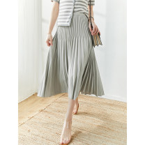 skirt Summer 2021 S,M,L,XL Black, dark grey Mid length dress commute High waist Pleated skirt Solid color Type A More than 95% other ECOSENSE polyester fiber Simplicity