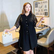 Women's large Summer 2021 Black [spot], black [payment 10-15 days delivery] F (145-170), 2f (170-195), 3f (195-220), 4f (220-250), 5F (250-280) Dress singleton  commute Self cultivation thin Socket Short sleeve Solid color Korean version square neck Three dimensional cutting routine 6-21221 Bandage