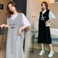 Dress Summer 2021 Black, gray, purple M,L,XL,2XL,3XL,4XL Mid length dress Fake two pieces Short sleeve commute Crew neck Loose waist Cartoon animation Socket other routine Others Type H Korean version Splicing, three-dimensional decoration 81% (inclusive) - 90% (inclusive) brocade cotton