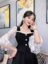 Dress Summer 2020 White, black S,M,L Short skirt singleton  three quarter sleeve commute other High waist Solid color zipper Big swing pagoda sleeve Others 25-29 years old Type X Korean version 30% and below other polyester fiber