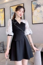 Dress Summer 2020 White, black S,M,L Short skirt singleton  three quarter sleeve commute V-neck High waist Solid color Socket Big swing bishop sleeve Others 25-29 years old Type X Korean version Hollow out, splicing, asymmetry, beading, zipper, lace 30% and below other polyester fiber