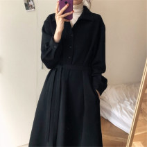 Dress Autumn of 2019 Black, black (thickened) S,M,L,XL Mid length dress singleton  Long sleeves commute V-neck High waist Solid color Single breasted A-line skirt routine Others 18-24 years old Type A Other / other Korean version 71% (inclusive) - 80% (inclusive) polyester fiber