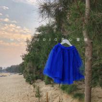 skirt 100cm,110cm,120cm,130cm,140cm,150cm blue Other / other female Polyamide fiber (nylon) 100% summer skirt princess Irregular Pure cotton (100% cotton content)