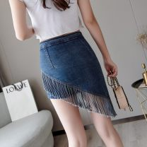 skirt Spring 2020 S M L XL blue Mid length dress commute Natural waist A-line skirt Solid color Type A 9255-6 71% (inclusive) - 80% (inclusive) Denim Elegant volume cotton Tassel splicing Korean version Cotton 72.9% polyester 25.1% polyurethane elastic fiber (spandex) 2% Pure e-commerce (online only)