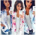 short coat Autumn of 2019 S,M,L,XL,2XL,3XL,4XL,5XL Pink, light blue, dark blue Long sleeves routine routine singleton  easy street routine stand collar zipper Plants and flowers 71% (inclusive) - 80% (inclusive) printing polyester fiber