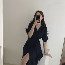 Dress Summer 2021 White, gray, black S,M,L,XL Mid length dress singleton  V-neck High waist Solid color Single breasted A-line skirt shirt sleeve
