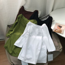 shirt White 1, black 2, coffee 4, green 3 M, L Spring 2021 cotton 30% and below Long sleeves commute Regular Crew neck Socket routine 18-24 years old Straight cylinder Korean version SS111139 cotton