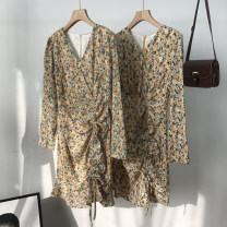 Dress Spring 2021 yellow S,M,L longuette singleton  Long sleeves commute V-neck High waist Broken flowers zipper One pace skirt routine Others 18-24 years old Type H Korean version 30% and below other cotton