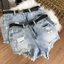 Jeans Spring 2021 blue 0,1,2,3 shorts High waist Straight pants routine 18-24 years old other light colour SS111368 30% and below