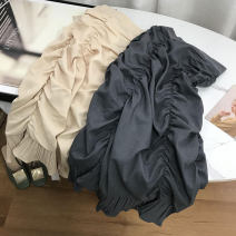 skirt Spring 2021 Average size Apricot, grey Mid length dress commute Natural waist skirt Solid color Type H 18-24 years old 30% and below other cotton Korean version 40g / m ^ 2 and below