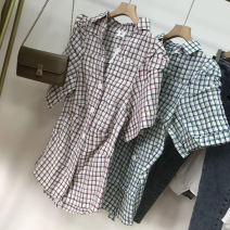 shirt Green 2, red 1 S, M Autumn 2020 cotton 30% and below Short sleeve commute Regular Polo collar Single row multi button routine 18-24 years old Straight cylinder SS302298 cotton