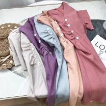 Dress Summer 2020 Brick red 2, light blue 4, khaki 3, purple 1, apricot 5 Average size longuette singleton  Short sleeve commute V-neck middle-waisted Solid color Socket One pace skirt routine 18-24 years old Korean version SH305291 30% and below other cotton