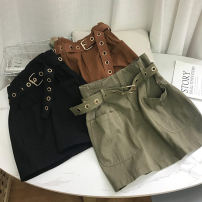 skirt Winter 2020 S, M Army Green 1 belt, Brown 2 belt, black 3 belt Short skirt commute Natural waist A-line skirt Solid color Type A 18-24 years old SS109068 30% and below other cotton Korean version 40g / m ^ 2 and below
