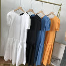 Dress Summer 2021 White 2, black 4, Orange 1, blue 3 Average size Mid length dress singleton  Short sleeve commute Crew neck middle-waisted Solid color Socket One pace skirt routine 18-24 years old Korean version SS111837 30% and below other