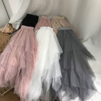 skirt Winter 2020 Average size Pink 1, khaki 6, Pink 3, blue 4, black 2, white 5 Mid length dress commute Natural waist Irregular Solid color Type H 18-24 years old SH309503 30% and below other cotton Korean version 40g / m ^ 2 and below