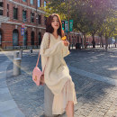 Dress Winter of 2019 white S M L XL longuette Fake two pieces Long sleeves commute V-neck Loose waist Solid color Socket A-line skirt routine Others 18-24 years old Type A Gerberf Korean version More than 95% knitting other Other 100% Pure e-commerce (online only)