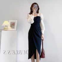 Dress Winter 2020 black S M L XL longuette singleton  Long sleeves commute square neck High waist Solid color zipper One pace skirt routine Others 25-29 years old Gerberf Korean version zipper More than 95% polyester fiber Polyester 100% Pure e-commerce (online only)