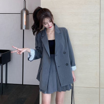 Fashion suit Autumn 2020 S M L XL Black coat + skirt suit grey coat + skirt suit 18-25 years old Gerberf Polyester 85% other 15% Pure e-commerce (online only)