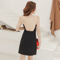 Dress Summer 2021 White black XS S M L Short skirt singleton  Sleeveless commute One word collar High waist Solid color zipper A-line skirt camisole 25-29 years old Type A Huan Ting Retro HT6554 More than 95% other Other 100% Pure e-commerce (online only)
