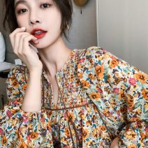 Dress Spring 2021 Picture color S M L XL Short skirt singleton  Long sleeves Sweet Loose waist Broken flowers Socket A-line skirt bishop sleeve Others 18-24 years old Type A Huan Ting More than 95% other Other 100% Mori Pure e-commerce (online only)