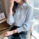 shirt wathet S M L XL XXL Spring 2021 other 96% and above Long sleeves commute Regular Polo collar Single row multi button routine Solid color 25-29 years old Self cultivation Isuooemae / ashuma Korean version 8099GC Button Other 100% Pure e-commerce (online only) Chiffon