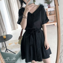 Dress Summer 2021 Black [within 7 days], green bean paste [within 7 days], lobster powder [within 7 days] S,M,L Short skirt Two piece set Short sleeve commute V-neck High waist Solid color Single breasted routine Others 25-29 years old Type A Sandro Svpr Korean version More than 95% Chiffon