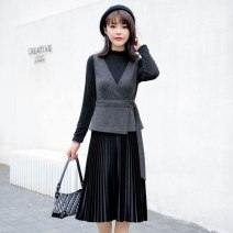 Dress Spring 2021 grey M,L,XL,2XL Mid length dress Two piece set Long sleeves Sweet Crew neck middle-waisted Socket Big swing routine Others other other Ruili
