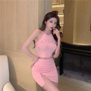 Women's large Summer 2021 Pink suit, black suit Large L, large XL, s, M skirt Two piece set commute moderate Socket Sleeveless Korean version have cash less than that is registered in the accounts 18-24 years old Short skirt other