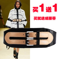 Belt / belt / chain Double skin leather Black + rice black + Red Black female Waistband Versatile Single loop Young and middle aged Pin buckle alloy